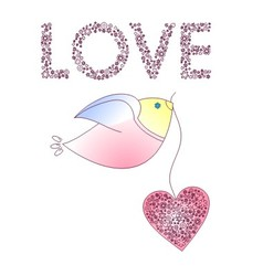 Abstract bird with a heart vector
