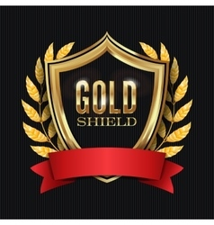 Golden shield with laurel wreath and red ribbon vector