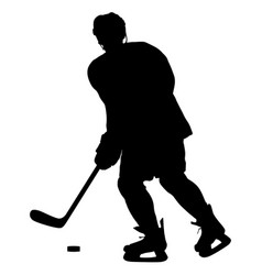 silhouette of hockey player isolated on white vector image
