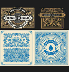 Set of 4 vintage card with western style layered vector