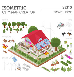 Flat 3d isometric smart home and city map vector