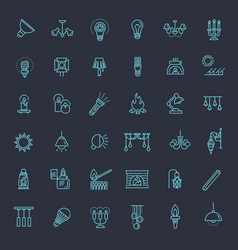 Lamp flat icon set vector