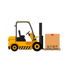Forklift truck with cardboard box isolated vector