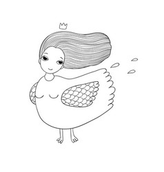Girl sirin mythological bird russian folklore vector