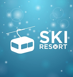 Ski resort ropeway on blue background vector