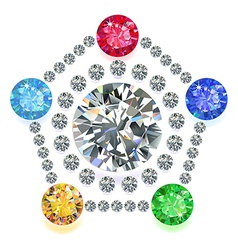 Pentagon composition colored gems set vector