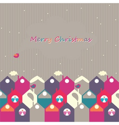Christmas city of birds vector