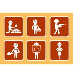 Set construction icons with builders man vector