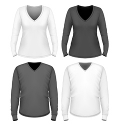 Women and men v-neck t-shirt long sleeve vector image