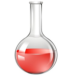 Red substance in glass beaker vector