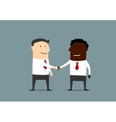 Handshake of businessmen from different countires vector