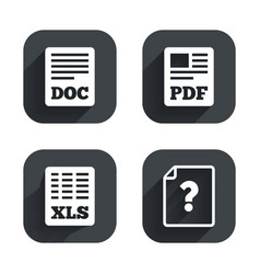 Document icons xls pdf file signs vector