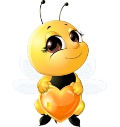 Bee holding a heart vector