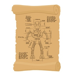 Drawing robot ancient scroll retro scheme of vector