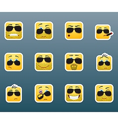 Sunglasses smile stickers set vector
