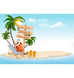 Beach with a palm tree a direction sign and a vector