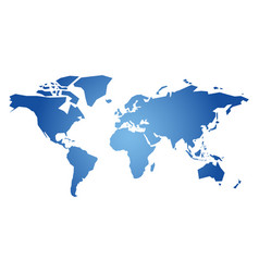 blue simplified silhouette of world map vector image