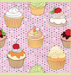 Cake pattern cafe menu tile background cupcake vector