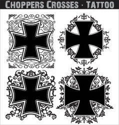 Choppers crosses tattoo vector