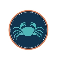 Circular ornament with crab inside vector