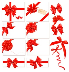 collection of red bows with ribbons vector image vector image