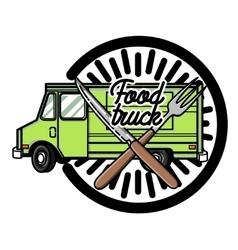 Color vintage food truck emblem vector