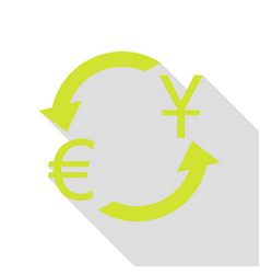 Currency exchange sign dollar and euro pear icon vector