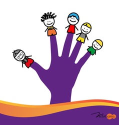 Cute happy cartoon kids on fingers vector image vector image