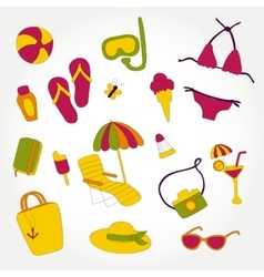 design summer beach items set vector image vector image