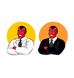 Devil in business suit red demon in white jacket vector