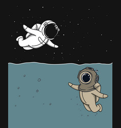 Diver and astronaut vector