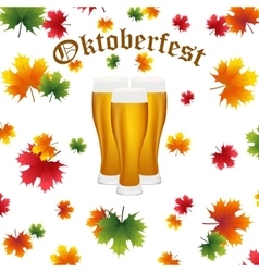 Festival oktoberfest in the fall and beer vector