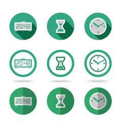 Flat time icons set Different kinds of flat style vector image vector image