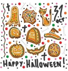 Halloween cookies Symbols of Halloween Set vector image