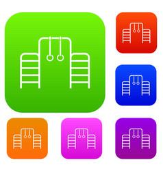 horizontal bar with climbing rings and ladder set vector image vector image