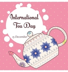 International tea day background with vintage vector