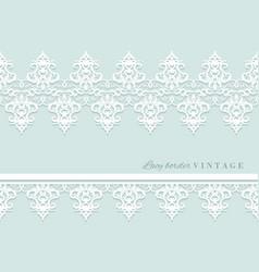 Lace decorative border set on pastel blue bridal vector
