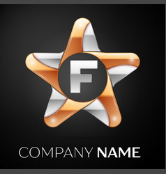 letter f logo symbol in the colorful star on black vector image vector image