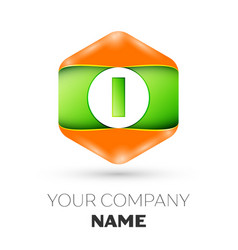 Letter i logo in the colorful hexagonal vector