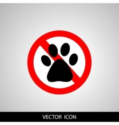 No dog paw icon pets symbol red prohibition sign vector