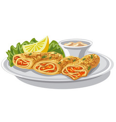 Pancakes with salmon vector