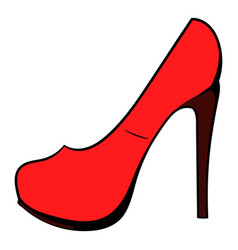 Red shoe icon cartoon vector