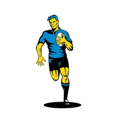 Rugby player running the ball vector