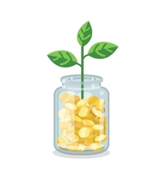 Saving flat money jar with growing plant vector