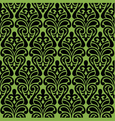 seamless damascus ornament on greenery background vector image vector image