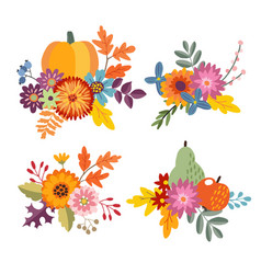 set of hand drawn bouquets made of pumpkin apple vector image vector image