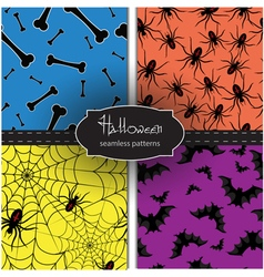 Set of seamless Halloween vector image vector image