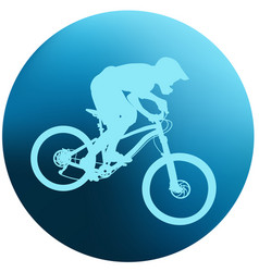 silhouette of a cyclist on blue round background vector image vector image