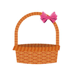 Straw basket with pink bow icon image vector