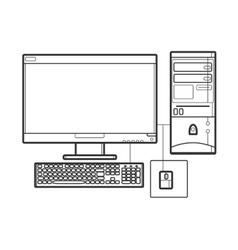 Symbol desktop computer Icon for web site Line vector image